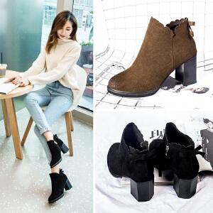 ZHR2017冬季新款复古短靴英伦马丁靴粗跟裸靴真皮女靴子高跟单靴K29