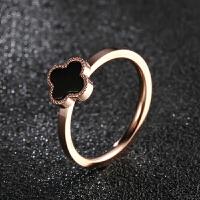 四叶草戒指女钛钢镀18K玫瑰金幸运尾戒指环食指黑色饰品情人节礼物