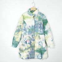 P02027女装精品新款单排按扣显瘦好搭配女扎染三色长款轻薄羽绒服