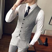 潮男士马甲修身纯色商务休闲绅士风职业工作正装发型师团队服马夹