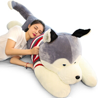 抖音同款哈士奇公仔送女友大号狗狗熊毛绒玩具布娃娃玩偶可爱长条睡觉抱枕女孩生日礼物