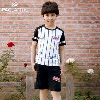 派克兰帝童装儿童夏季套装中小男童新款运动休闲短袖两件套装