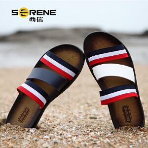 西瑞凉鞋男士夏季新款休闲沙滩男鞋韩版凉拖鞋男英伦人字拖防滑一字拖2136