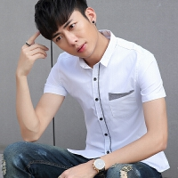 夏季新款男士短袖�r衫�n版修身潮流���獍咨�免�C薄款百搭�r衣