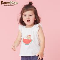 【3件3折 到手价:89】Pawinpaw卡通小熊童装夏款女宝宝小飞袖T恤婴幼儿休闲上衣萌