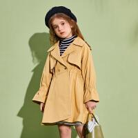 【春新品2件4折:174】巴拉巴拉旗下巴帝巴帝女童风衣外套2020春装新款卡其色儿童中长款韩版女