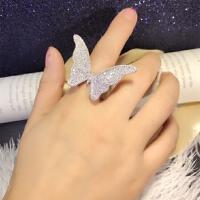 七度品尚欧美个性潮流时尚夸张满钻微镶锆石甜美蝴蝶结精致分码气质女戒指