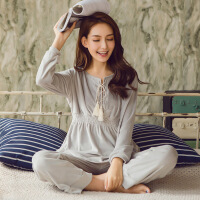 韩版流苏天鹅绒长袖睡衣女秋季金丝绒休闲复古家居服套装可外穿 均码