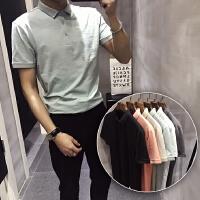 夏季短袖POLO衫青少年修身休闲T恤英伦风色打底上衣潮流男