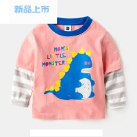 宝宝假两件T恤春装女童春秋2岁男童纯棉儿童长袖上衣婴儿童装小衫