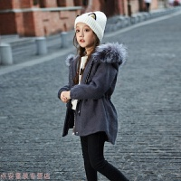 冬季女童毛呢外套加厚秋冬新款儿童韩版中长款童装中大童呢子大衣秋冬新款 深灰色 120cm
