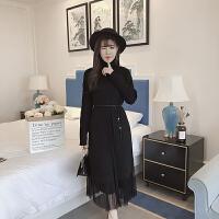 秋冬2017新款韩版气质高领开叉针织连衣裙+网纱半身裙时尚套装女