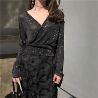 夏季新复古韩国i风心机设计感星星雪纺衫V领长袖衬衫女上衣