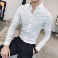 新品18春装新款男士韩版修身暗格子免烫长袖衬衫青年男式潮流休闲