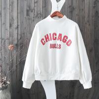 B21新字母印花加厚长袖套头加绒卫衣半高领灯笼袖宽松绒衫上衣