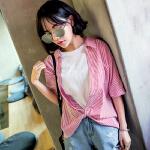2018夏装新款女装韩版拼接假两件条纹衬衫女