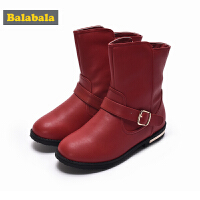 巴拉巴拉儿童靴子2017秋冬新款女童雪地靴冬季鞋中大童时尚中筒靴