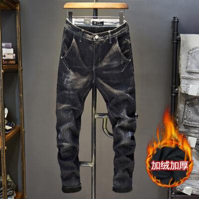 加绒牛仔裤男士 冬季加厚款保暖带印花深黑灰色百搭小脚长裤子潮 黑灰色KJ9加绒 发货周期:一般在付款后2-90天左右发货,具体发货时间请以与客服协商的时间为准