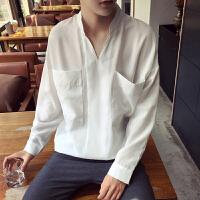 春夏新时尚大口袋 潮男长袖衬衫男套头圆领纯色宽松衬衣潮