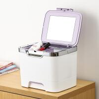 手提化妆箱塑料带镜子化妆包化妆品收纳盒大号整理盒药箱
