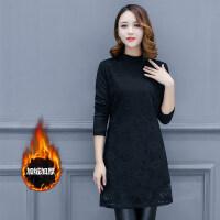 2018新款秋冬韩版半高领加绒加厚保暖中长款女T恤蕾丝打底衫小衫