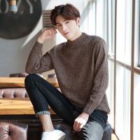 冬季半高领毛衣男士针织衫韩版潮流纯色宽松加厚毛线衣男装羊毛衫