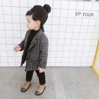 男童毛呢外套加厚宝宝冬装2018新款韩版小童上衣开衫儿童呢子大衣 如图色