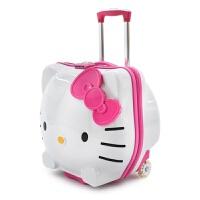 儿童拉杆箱可坐骑行李箱女童拖箱小宝宝万向轮登机箱kitty旅行箱 粉色 发光定向轮 19寸 发光定向轮