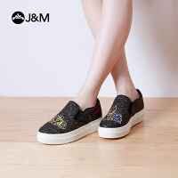 jm快乐玛丽时尚设计师亮片套脚个性平底舒适乐福鞋女鞋鞋子82060W
