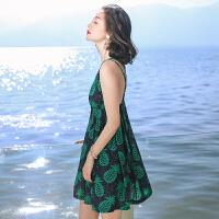 夏季新品女装露背吊带雪纺连衣裙波西米亚海边度假沙滩裙短裙 图片色XZA568