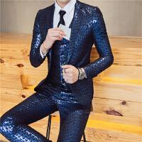 新品18春季新款男士潮流韩版修身提花档面料西服套装青年小伙三件