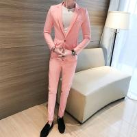 新品2018韩版青年西服套装男帅气四季粉色西服两件套长袖休闲小外
