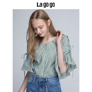 Lagogo2018夏新款时尚学院风荷叶边五分袖衬衫女条纹薄款短上衣HACC324F27