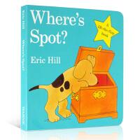 英文原版绘本 Where's is Spot?小玻在哪里?低幼启蒙纸板书 Eric Hill 躲猫猫 亲子互动早教游戏