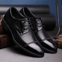 夏天新款男士夏季商务休闲鞋正装皮鞋镂空透气尖头系带男鞋子
