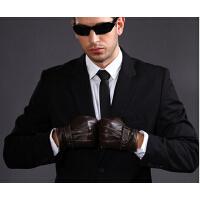 男骑车 皮手套 冬季羊毛绒羊皮 男士触屏皮手套加绒 手套加厚保暖薄