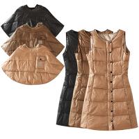 冬季外套女装 韩版纯色斗篷背心裙两件套长袖羽绒服百搭