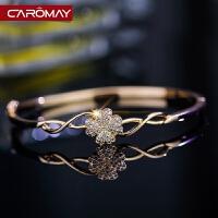 微镶满钻花朵手镯 女镀18K玫瑰金优雅气质手环简约情侣首饰品