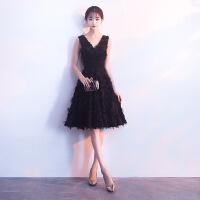 【新款上市】明星同款礼服2018新款高贵优雅黑色显瘦派对学生小礼服连衣裙短款