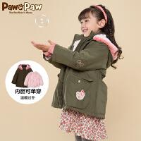 【2件2.5折 到手价:325】Pawinpaw宝英宝卡通小熊童装冬季款女童棉服外套
