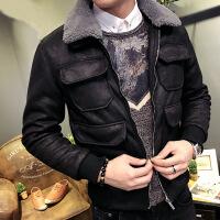 冬季男士棉衣韩版修身麂皮绒夹克羊羔绒冬装加厚潮流帅气外套