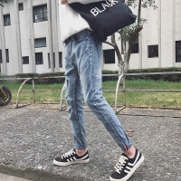 新款2018秋季破洞牛仔裤男生修身韩版小脚长裤S加小码27小号
