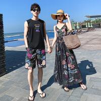海边度假沙滩情侣装夏季短袖大码套装男女蜜月吊带连衣裙 +短裤套装 现货