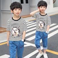 童装男童夏装新款儿童短袖套装夏季中大童男孩t恤两件套潮衣