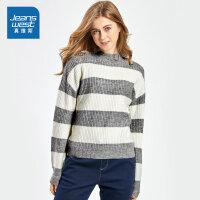 [满减参考价:47.9元,狂欢返场/仅限12.13-16]真维斯女装 冬装新款 简约小高领横条长袖毛衣