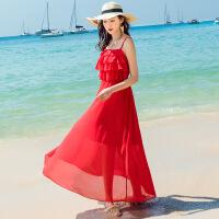 维绯2018夏新款波西米亚红色沙滩裙雪纺吊带连衣裙海滩度假长裙子 红色