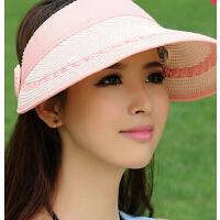 可折叠帽凉帽户外沙滩帽 出游草帽女士帽子夏大沿遮阳帽空顶帽