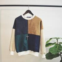 春季学生圆领套头卫衣男外套拼色韩版修身鹿皮绒长袖情侣衣服薄款