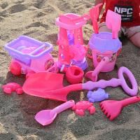 粉色沙滩挖沙子 玩具女孩宝宝小公主决明子沙漏铲子工具 粉色系列19件套