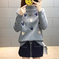 女士小毛衣春装2018新款短款打底衫半高领爱心针织上衣百搭时尚潮